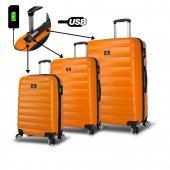 My Valice Smart Bag Colors Usb Şarj Girişli 3lü Valiz Seti Turuncu