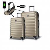 My Valice Smart Bag Colors Usb Şarj Girişli 2li Valiz Seti (Büyük Ve Orta) Gold