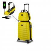 My Valice Smart Bag Colors Usb Şarj Girişli 2li Valiz Seti (Kabin Ve Makyaj) Sarı