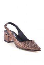 Giona Bakır Cilt Desenli Kemerli Topuklu Bayan Ayakkabı