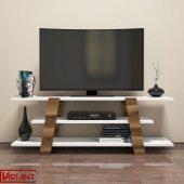 Variant Flower Tv Sehpası Tv Ünitesi Ceviz Beyaz