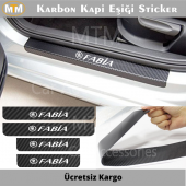 Skoda Fabia Karbon Kapı Eşiği Sticker (4 Adet)