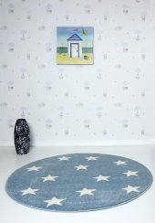 Mavi Küçük Yıldızlı Yuvarlak Çocuk Odası Halısı