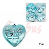 4lü Hoşgeldin Bebek Yazılı Parlak Cici Kalp Mavi 10cm