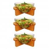 Joy Kitchen Gardenıa 3lü Küçük Salata Kasesi Ahşap Standlı P53543 &