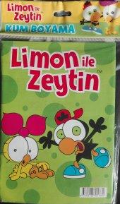 Limon İle Zeytin Renkli Kum Boyama Kartı A 4 Ebatında Lisanslı Eğitici Kum Boyama Oyunu