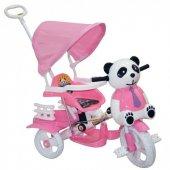 Dilaver Baby Poufy Panda Ebeveyn Kontrollü Üç Teker Çocuk Bisikleti Gezi Tenteli Bisikleti