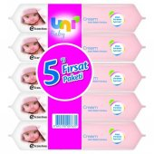 Uni Baby Cream Islak Havlu Mendil 5li