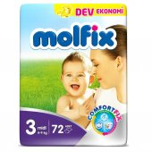 Molfix Midi 3 No Bebek Bezi Dev Eko Paket 4 9 Kg 72 Adet
