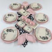 Keramika Retro Pembe 30 Parça 6 Kişilik Kahvaltı Takımı