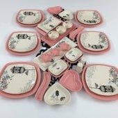 Keramika Retro Pembe 34 Parça 6 Kişilik Kahvaltı Takımı