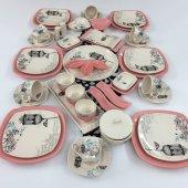 Keramika Retro Pembe 49 Parça 6 Kişilik Kahvaltı Takımı