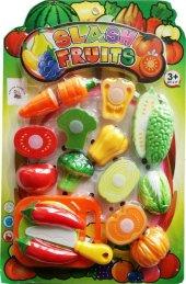 Kesilebilen 18 Parça Kesme Tahtalı Oyuncak Sebze Ve Meyve Seti