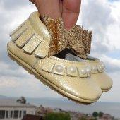 çıt Çıtlı Balerin Makosen Tabanlı Bebek Ayakkabı Sarı Cv 473