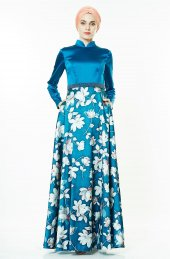 f7442778eb7f0 Fashion Night Çiçek Desenli Abiye Elbise Petrol 2196 56