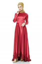 Fashion Night Güpür Detaylı Abiye Elbise Bordo 2270 67