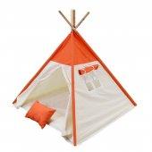 Oyun Çadırı %100 Pamuklu Kumaş Kızılderili Çadırı, Oyun Evi (Kod15turuncu)