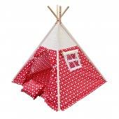 Oyun Çadırı %100 Pamuklu Kumaş Kızılderili Çadırı, Oyun Evi (Kod22yıldızlıkırmızı)