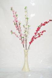 40 Cm Krem Rengi Desenli Vazo Ve Bahar Dalları