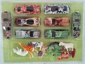 8 Parça Safari Sürtmeli Araba Seti Safari Hayvanları Hediyeli Araba Seti