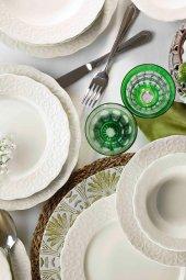 Kütahya Porselen Bone İrem 24 Parça Yemek Seti Dekorsuz