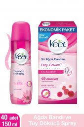 Veet 40 Lı Normal Sir Ağda Bantları + 150 Ml Normal Tüy Dökücü Sp
