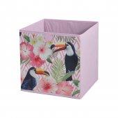 Kuş Ve Bahar Çiçekli Desen Kumaş Katlanabilir Çok Amaçlı Eşya Saklama Kutusu