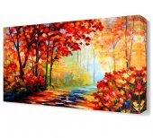 Turuncu Yapraklı Sonbahar Ağaçları Tablosu