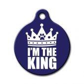 Dalis Pet Tag Im The King Desenli Yuvarlak Kedi Köpek Künyesi
