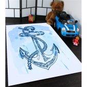 Mavi Çapa Desenli Çocuk Odası Halısı