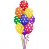 Karışık Renk Puantiyeli Balon 50 Adet