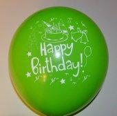 Happy Birthday Baskılı Karışık Renk Balon 100 Adet