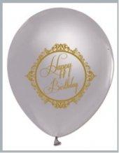 Silver Gümüş Üzeri Gold Renk Happy Birthday Baskılı Balon 7 Adet