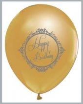 Gold Renk Üzeri Siyah Renk Happy Birthday Baskılı Balon 7 Adet