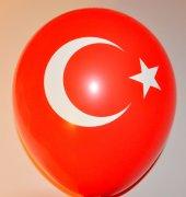 Türk Bayrağı Ay Yıldız Baskılı Kırmızı Renk Balon 7 Adet