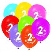 Iki 2 Yaş Baskılı Karışık Renk Balon 100 Adet