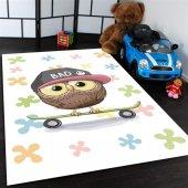 Sevimli Baykus Desenli Çocuk Odası Halısı