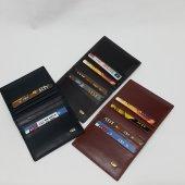 Siyah Taba Kahve Renkte Yatay Model Hakiki Deri Düz Tasarım Kartlık