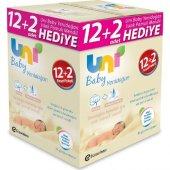 Uni Baby Yenidoğan Islak Pamuk Mendil 12&#039 Li + 2 Hediye