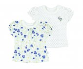 Penye 2li Çiçekli Puanlı Kız Bebek Tshirt Saks