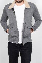 Yakası Kürklü Fermuarlı Erkek Gri Kısa Ceket