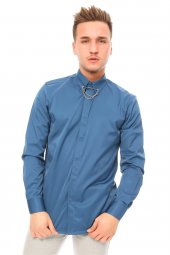 Iğneli Saten Koyu Mavi Gömlek