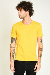 önü Parçalı Bisiklet Yaka Sarı Basic Erkek T Shirt