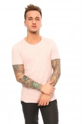 Kendinden Desenli Basic Pembe Erkek T Shirt