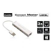 Dark Dk Ac Usb23l 10 100 Usb 2.0 3 Port Hub+ethernet Adaptör