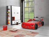 Arabalı Yataklar, Farinay Bmw N6 Karyola Kırmızı, Işıklı +nevresi