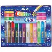 Amos Glitter Glue Simli Yapıştırıcı 10,5 Ml X 18 Renk