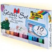 Folia Glitter Set 10 Renk X 14 Gr. Toz Sim