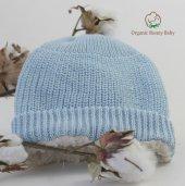 Organik Bebek Şapkası Organic Bonny Baby Şapka Mavi Erkek Bebek Organik Şapka