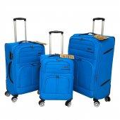 Fossil 3 Lü Valiz Seti Hafif Kumaş Bavul Mavi 1102
